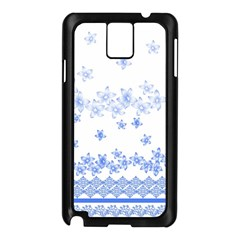 Blue And White Floral Background Samsung Galaxy Note 3 N9005 Case (black) by Amaryn4rt