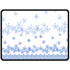 Blue And White Floral Background Double Sided Fleece Blanket (large)  by Amaryn4rt