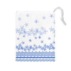 Blue And White Floral Background Drawstring Pouches (large)  by Amaryn4rt