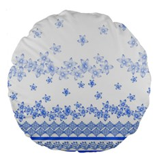 Blue And White Floral Background Large 18  Premium Flano Round Cushions by Amaryn4rt