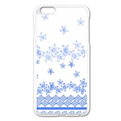Blue And White Floral Background Apple Iphone 6 Plus/6s Plus Enamel White Case by Amaryn4rt