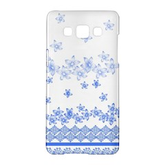 Blue And White Floral Background Samsung Galaxy A5 Hardshell Case  by Amaryn4rt