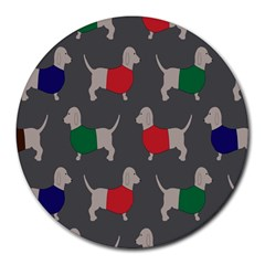 Cute Dachshund Dogs Wearing Jumpers Wallpaper Pattern Background Round Mousepads by Amaryn4rt