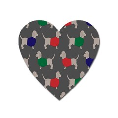 Cute Dachshund Dogs Wearing Jumpers Wallpaper Pattern Background Heart Magnet by Amaryn4rt