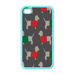 Cute Dachshund Dogs Wearing Jumpers Wallpaper Pattern Background Apple Iphone 4 Case (color) by Amaryn4rt