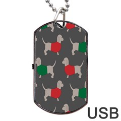Cute Dachshund Dogs Wearing Jumpers Wallpaper Pattern Background Dog Tag Usb Flash (two Sides) by Amaryn4rt