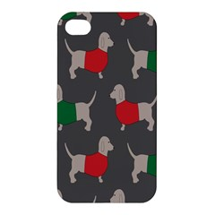 Cute Dachshund Dogs Wearing Jumpers Wallpaper Pattern Background Apple Iphone 4/4s Premium Hardshell Case by Amaryn4rt