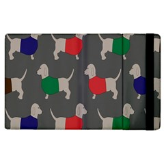 Cute Dachshund Dogs Wearing Jumpers Wallpaper Pattern Background Apple Ipad 2 Flip Case by Amaryn4rt