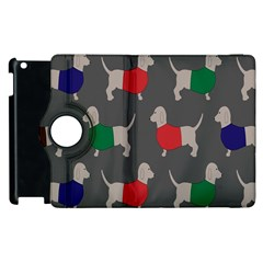 Cute Dachshund Dogs Wearing Jumpers Wallpaper Pattern Background Apple Ipad 3/4 Flip 360 Case by Amaryn4rt
