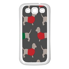 Cute Dachshund Dogs Wearing Jumpers Wallpaper Pattern Background Samsung Galaxy S3 Back Case (white) by Amaryn4rt