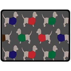 Cute Dachshund Dogs Wearing Jumpers Wallpaper Pattern Background Double Sided Fleece Blanket (large)  by Amaryn4rt