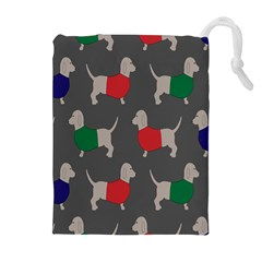 Cute Dachshund Dogs Wearing Jumpers Wallpaper Pattern Background Drawstring Pouches (extra Large) by Amaryn4rt