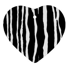 Zebra Background Pattern Ornament (heart) by Amaryn4rt