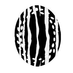 Zebra Background Pattern Oval Filigree Ornament (two Sides) by Amaryn4rt