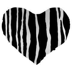 Zebra Background Pattern Large 19  Premium Flano Heart Shape Cushions by Amaryn4rt