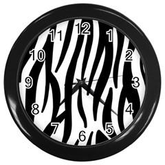 Seamless Zebra A Completely Zebra Skin Background Pattern Wall Clocks (black)