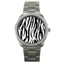 Seamless Zebra A Completely Zebra Skin Background Pattern Sport Metal Watch by Amaryn4rt
