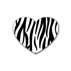 Seamless Zebra A Completely Zebra Skin Background Pattern Rubber Coaster (heart)  by Amaryn4rt