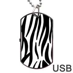 Seamless Zebra A Completely Zebra Skin Background Pattern Dog Tag Usb Flash (one Side) by Amaryn4rt