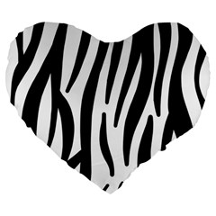 Seamless Zebra A Completely Zebra Skin Background Pattern Large 19  Premium Heart Shape Cushions by Amaryn4rt