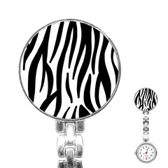 Seamless Zebra A Completely Zebra Skin Background Pattern Stainless Steel Nurses Watch by Amaryn4rt