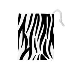 Seamless Zebra A Completely Zebra Skin Background Pattern Drawstring Pouches (medium)  by Amaryn4rt
