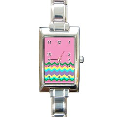 Easter Chevron Pattern Stripes Rectangle Italian Charm Watch