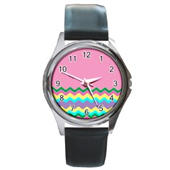 Easter Chevron Pattern Stripes Round Metal Watch