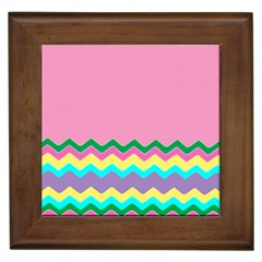 Easter Chevron Pattern Stripes Framed Tiles