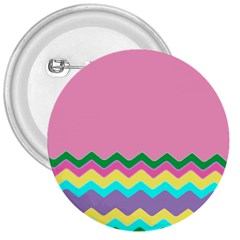 Easter Chevron Pattern Stripes 3  Buttons