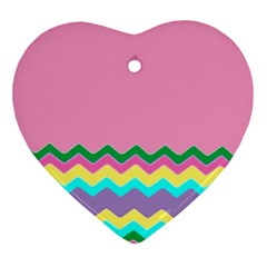 Easter Chevron Pattern Stripes Ornament (Heart)