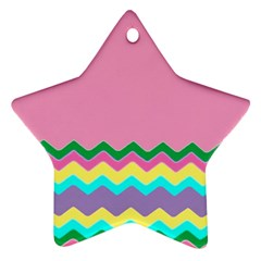 Easter Chevron Pattern Stripes Ornament (Star) by Amaryn4rt