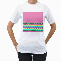 Easter Chevron Pattern Stripes Women s T-Shirt (White) (Two Sided)