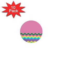 Easter Chevron Pattern Stripes 1  Mini Buttons (10 Pack)  by Amaryn4rt