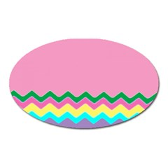 Easter Chevron Pattern Stripes Oval Magnet