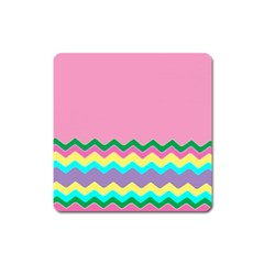 Easter Chevron Pattern Stripes Square Magnet by Amaryn4rt