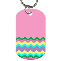 Easter Chevron Pattern Stripes Dog Tag (One Side)