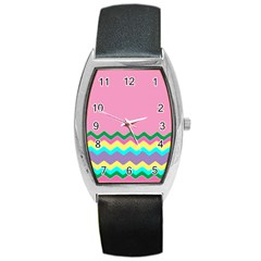 Easter Chevron Pattern Stripes Barrel Style Metal Watch by Amaryn4rt