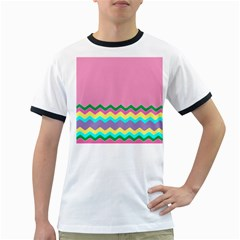 Easter Chevron Pattern Stripes Ringer T-Shirts