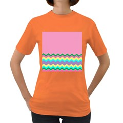 Easter Chevron Pattern Stripes Women s Dark T-Shirt