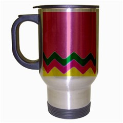Easter Chevron Pattern Stripes Travel Mug (Silver Gray)