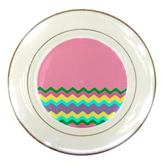 Easter Chevron Pattern Stripes Porcelain Plates by Amaryn4rt