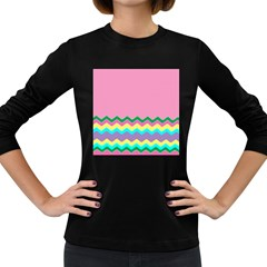 Easter Chevron Pattern Stripes Women s Long Sleeve Dark T-Shirts