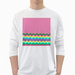 Easter Chevron Pattern Stripes White Long Sleeve T-Shirts