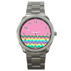 Easter Chevron Pattern Stripes Sport Metal Watch