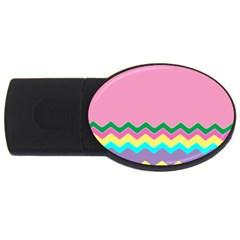 Easter Chevron Pattern Stripes Usb Flash Drive Oval (4 Gb) by Amaryn4rt