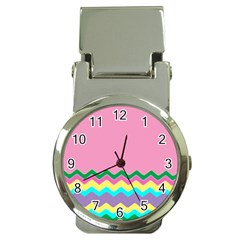 Easter Chevron Pattern Stripes Money Clip Watches