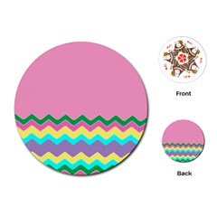 Easter Chevron Pattern Stripes Playing Cards (Round)