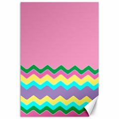 Easter Chevron Pattern Stripes Canvas 12  x 18