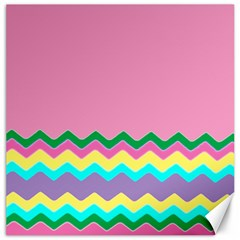 Easter Chevron Pattern Stripes Canvas 16  x 16